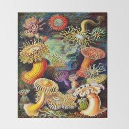 Under the Sea : Sea Anemones (Actiniae) by Ernst Haeckel Throw Blanket