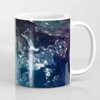 europe Mugs featuring Europe UpsideDown by Marco Bagni