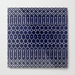 Indigo Dark Blue Farmhouse Moroccan Style. Metal Print