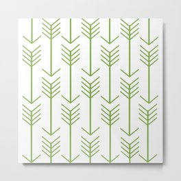 Green Arrows on White Metal Print