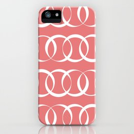 Living coral and white elegant intersecting circles pattern iPhone Case