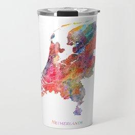 Netherlands Map Watercolor by Zouzounio Art Travel Mug