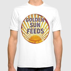 Golden Sun Feeds White Mens Fitted Tee SMALL