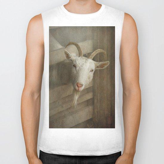 The curious goat Biker Tank