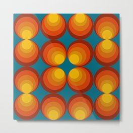 70s Circle Design - Teal Background Metal Print