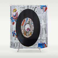 superheroes Shower Curtains featuring superheroes are normal people by Kiki collagist