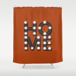 HOME Lighted Marquee Sign Stacked Sienna Orange and Charcoal Grey Shower Curtain