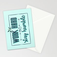 Quote - Work hard Stay Humble - Flower Stationery Cards
