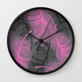 feathers quill pink grey Wall Clock