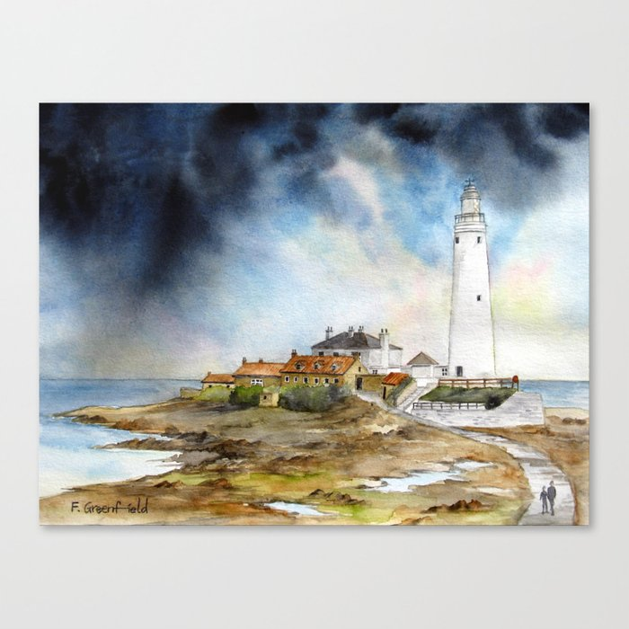 St Mary/'s lighthouse black and white Canvas Wall Art Picture Print