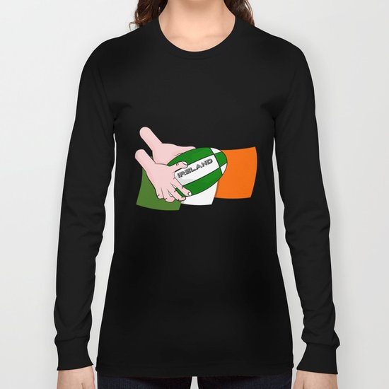 Rugby Ireland Flag Long Sleeve T-shirt