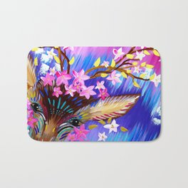 Deer Painting with Abstract Colours Bath Mat