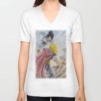 vegeta V-neck T-shirts featuring Vegeta V Thor by Kame Nico