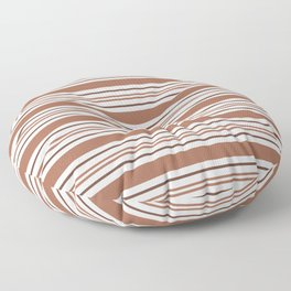 Sherwin Williams Cavern Clay SW7701 Tri-color Thick and Thin Horizontal Lines Bold Stripes Floor Pillow