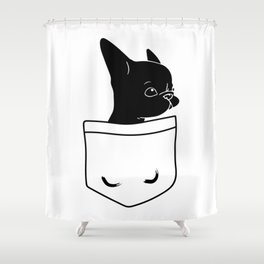 Frenchie in the Pocket French bulldog Shower Curtain