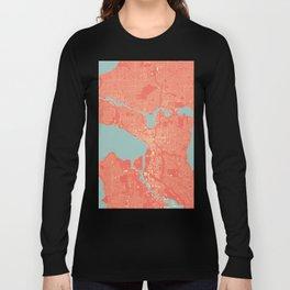 Seattle, Washington City Map, Colorful Long Sleeve T-shirt