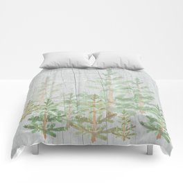 Pine forest on weathered wood Comforters