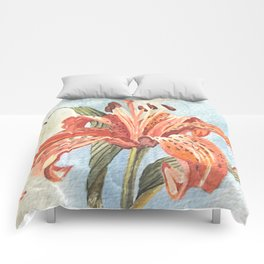 Orange Tiger Lily Watercolor Painting Comforters