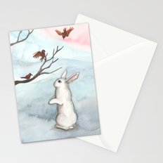 Rabbit in the Winter Snow Stationery Cards