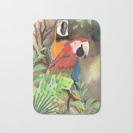 Parrot Couple with tropical leaves Watercolor Design Bath Mat