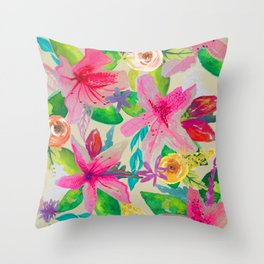 Azalea Garden // Natural Throw Pillow