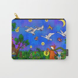 A fox and a rabbit are walking in a fairy forest with birds. Carry-All Pouch