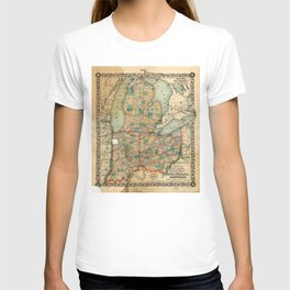Map of Ohio, Indiana & Michigan (1859) T-shirt