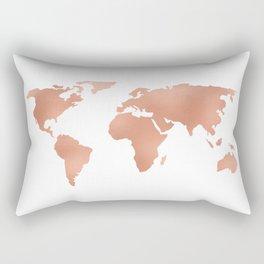 World Map Rose Gold Bronze Copper Metallic Rectangular Pillow