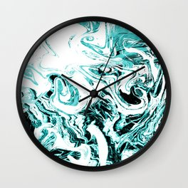 Suminagashi marble blue green marbled pattern spilled ink abstract art Wall Clock