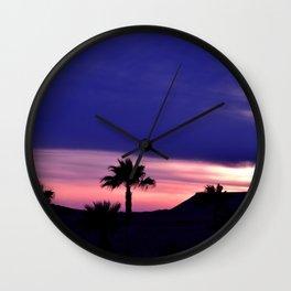 Palm Sunset - III Wall Clock