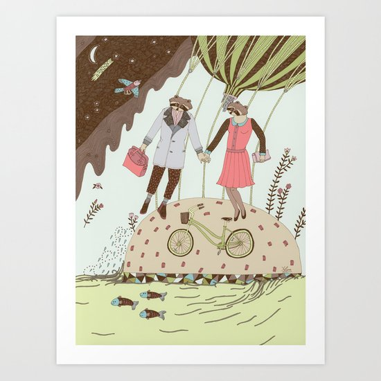 Mr and Mrs Raccoon Art Print