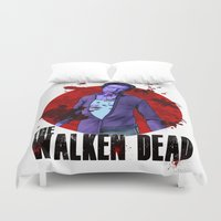 christopher walken Duvet Covers featuring The Walken Dead – The Walking Dead Parody – Christopher Walken Zombie by ptelling