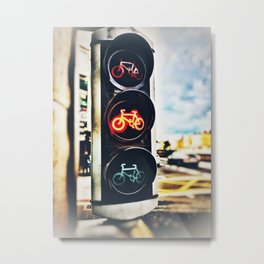 Bicycle Traffic Lights Metal Print