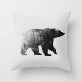 Into the Wild b&w Throw Pillow