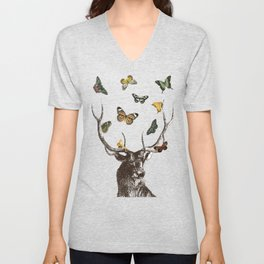 The Stag and Butterflies Unisex V-Neck