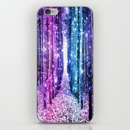 Magical Forest : Aqua Periwinkle Purple Pink Ombre Sparkle iPhone Skin