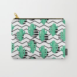 cacti + black Carry-All Pouch