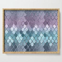 Mermaid Scales Navy Blue Teal Purple Glam #1 #shiny #decor #art #society6 Serving Tray
