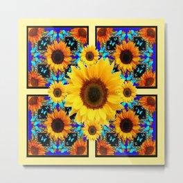 Blue Abstracted Sun Flowers & Butterflies Pattern Metal Print