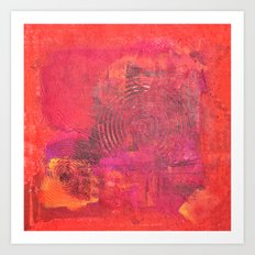 Original Textured Painting Orange and Red Art Print
