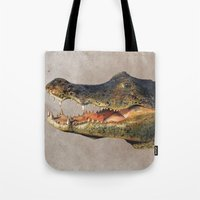 crocodile Tote Bags featuring Crocodile by Anna Milousheva
