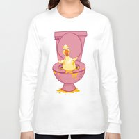 toilet Long Sleeve T-shirts featuring Toilet Duckling by Chris Piascik