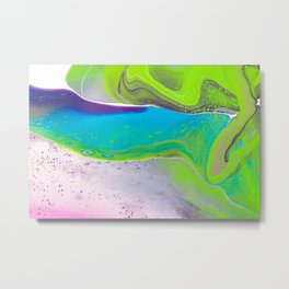Fluid Art Acrylic Painting, Pour 31, Lime Green, Purple, Blue & Pink Blended Color Metal Print