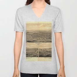 Vintage Bird's Eye Map Illustration - Los Angeles, California (1877) Unisex V-Neck
