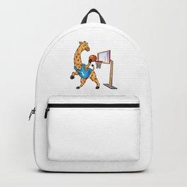 Giraffe as basketball player with basketball Backpack