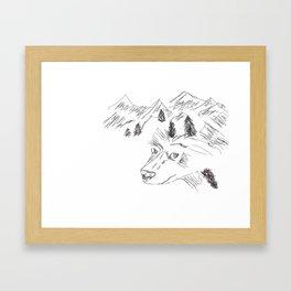 wolf in mountain Framed Art Print