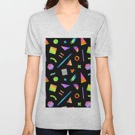 Neon Gradient Postmodern Shapes Unisex V-Neck