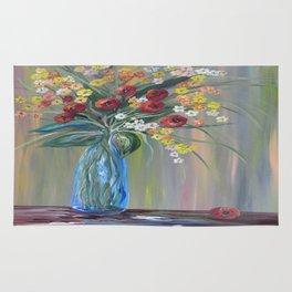 Flowers in a Blue Vase Soft Focus Rug