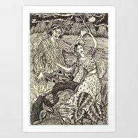 Girl Turning Into A Tree Art Print