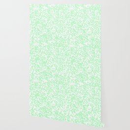 Small Spots - White and Light Green Wallpaper